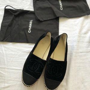 SOLD ✨ Black Velvet Chanel Espadrilles